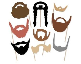Printable Beard Photo Booth Props - Beard Photobooth Props - Beard Printable Props - Movember Photo Props - Beards on a Stick