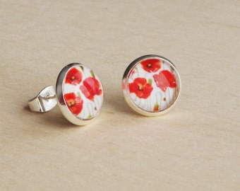 Red Poppy Stud Earrings Red Flowers Stud  Bridesmaids Jewelry Glass Dome Earrings Floral Jewelry Small Studs Post Earrings gift for her