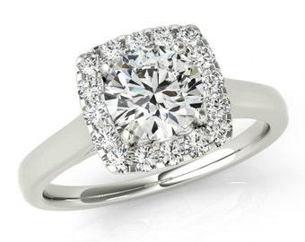 1 Carat SUPERNOVA Moissanite and Diamond Engagement Ring 14k White Gold - Diamond Halo - Cushion Halo - Wedding - Rings For Women, Supernova