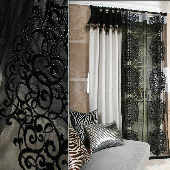 Black Classic Lace Net Curtain Sheers Decorative Drapery Panel for ...