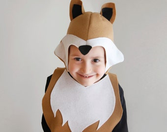 Fox PATTERN DIY christmas costume mask sewing for boy instant download woodland animals ideas for kids baby children holiday Halloween gift