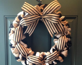 Cottage Chic Burlap Wreath, Black and White Burlap Wreath, Year Round Wreath