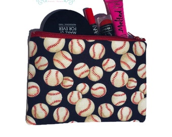 Red and Blue Baseball Sports Themed Makeup / Pencil Bag