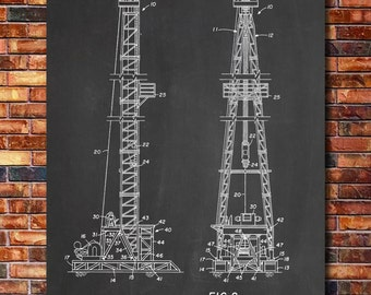 Oil Derrick Patent Print Art 1969