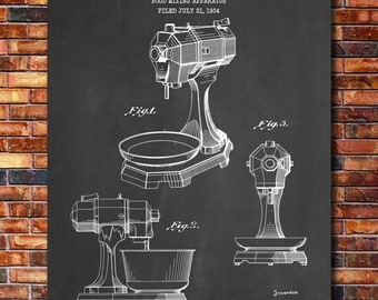 KitchenAid Mixer Patent Print Art 1935