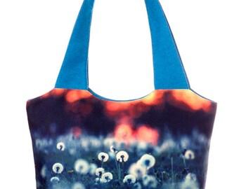 Dandelion print handbag Cyan fabric handbag Blue shoulder bag Floral handbag Floral tote bag Zip handbag Photo handbag New Year gift for her