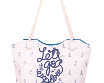 Let's Go Explore Print Bag Beach Bag White and Blue Handbag Zipped Shoulder Bag Roomy Tote Bag with Sturdy Handles (C0507)