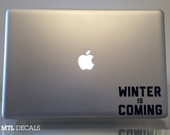"Game of Thrones Macbook Decal / Winter is Coming Laptop Sticker (4"" x 2.65"")"