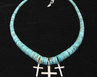 Turquoise and Silver Crosses Necklace