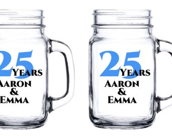 Personalized Anniversary Mason Jar - With Names and Years.  Weddings, parties, celebrations, birthdays, love, i do, we still do - set of 5