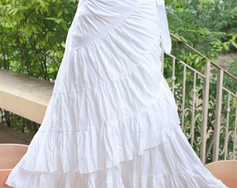 Tie Waist Cotton Maxi Wrap Skirt, Free Size, Loose Fit Skirt, Broomstick Skirt in White