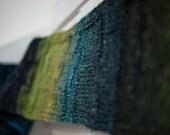 Silk & Mohair Knit Scarf Handmade Women Men Her Him Accessories New Unused Blue Green Teal Black Unique Original Scarves