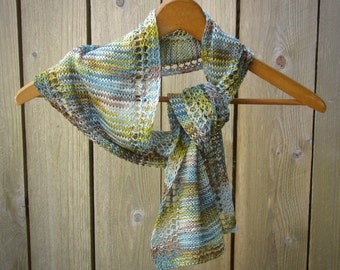 Linen scarf blue brown green gold light summer natural vegan unique new lace handmade knit washable