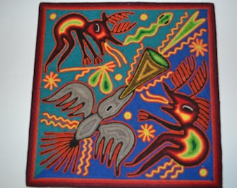 "Huichol Yarn Art 12"" x 12"" Wall Hanging -Eagle"