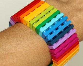Rainbow - 1 x 4 Bracelet made with LEGO® pieces - Jewelry made with LEGO® pieces