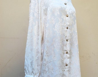SALE White jaquard Rose Shirt oversize XXL