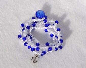 Nautical bracelet Beaded bracelet 5x Wrap bracelet sea jewelry sea bracelet nautical bracelet Crochet bracelet ocean jewelry Beach jewelry