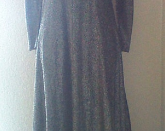 Glittery 60's Silver and Black Long Dress Gown