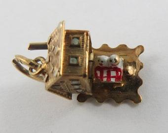 Cottage-Love Nest With Enamel Bed Inside Mechanical 14K Gold Vintage Charm For Bracelet