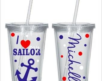 I Love my Sailor Tumbler, Navy Tumbler