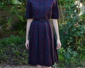 Vintage 1950s Mr Jack Dallas Black and Burgundy Plaid Classic Retro Chic Cotton Mid Century Modern Housewife Circle Skirt Day Dress S