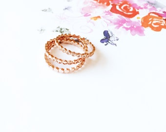 Rose Gold Layer Ring 925 Sterling Silver Set of 3 Diamond Ring Knuckle Stack Honeycomb Midi Ring Valentine's Wedding Birthday Ideal Gift