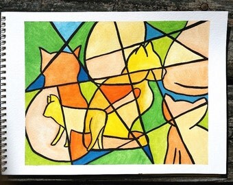 Cubism cat watercolor painting print, 8 x 10
