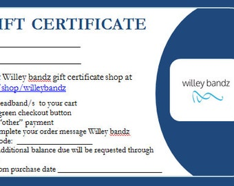 25 Dollar-Gift Certificate for Willey bandz