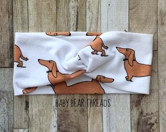 Dogs - Turban Head Wrap - Baby Headband - Jersey Knit