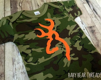Orange and Camo Browning - Baby Bodysuit - Hunting Baby Shirt