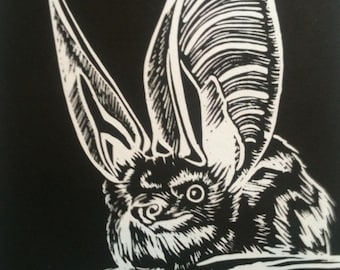 Long eared bat linocut