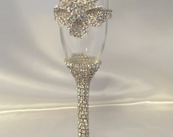 Set of two Champagne Glasses,Wedding, Crystal