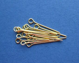 100 Eye Pins - Gold Plated Eye Pins - Findings - 2cm -- (W8-10869)