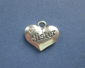 5 Sister Charms - Sister Pendants - Sister - Sister Carved Charm - Carved Charm - Silver Tone - 16mm x 14mm  -- (E8-10202)