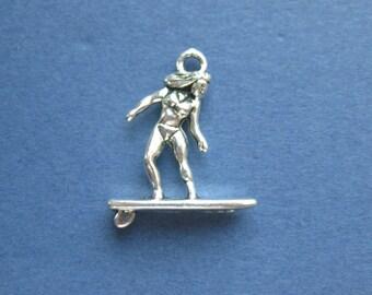 10 Surfer Charms - Surfer Pendants - Sports Charm - Antique Silver - 19mm x 18mm -- (No.25-10839)