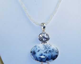 Elegant Dendritic Agate with Tourmalineted Quartz, White Topaz and Rainbow Moonstone & 925 Sterling Silver Necklace