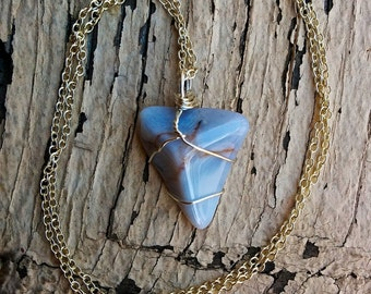 Blue Chalcedony Necklace (hand-made, sterling silver)