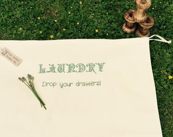 Laundry Bag 100% Cotton Embroidered Laundry Bag - Drop your Drawers
