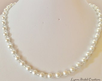 White Pearl Necklace Pearl and Crystal Jewelry Sterling Silver Mother of the Bride Wedding Party Gift Bridesmaid Gift Pretty Gift for Her