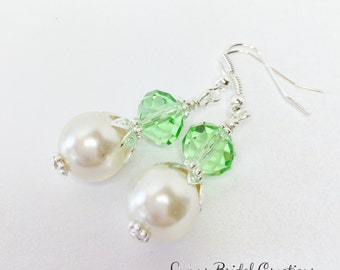 Peridot Wedding Jewelry Crystal Earrings Ivory Pearl Earrings Bridesmaid Gift Mother of the Bride Jewelry Set Peridot Crystal Earrings
