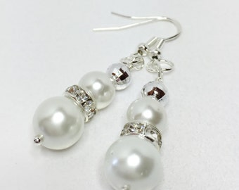 White Pearl Earrings Bridesmaid Gift White Pearl Jewelry Set Pearl Droplet Earrings Wedding Party Gift Mother fo the Bride Gift Under 15