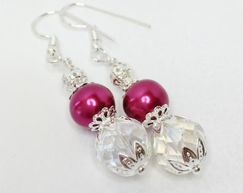 Red Pearl Bridesmaid Earrings Bridesmaid Jewelry Red Wedding Crystal Jewelry Crystal Earrings Wedding Set Wedding Jewelry Crystal & Pearl