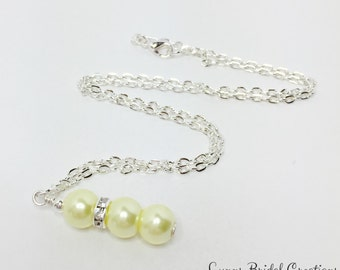 Lemon Pearl Necklace Wedding Yellow Beaded Necklace Bridesmaid Gift Lemon Pendant Necklace Crystal Necklace Bridal Party Jewelry