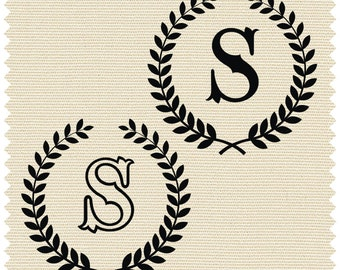 Laurel wreath with Capital Letter S - SVG -PNG -CDR - ai - jpeg - dxf -pdf - Printable Clipart - Vinyl Cutting - Laser Cutting and Engraving