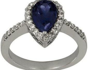 Sapphire Engagement Ring Pear Shape Blue Sapphire In Vintage Ring 14K White Gold