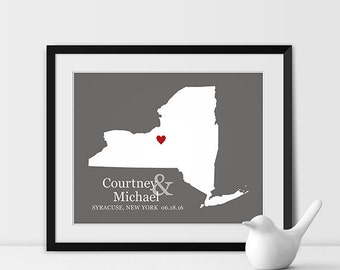 Personalized Wedding Gift, State Map Print, Bride and Groom Names and Wedding Date, Bridal Shower Gift, New York Wedding Gift - Any STATE