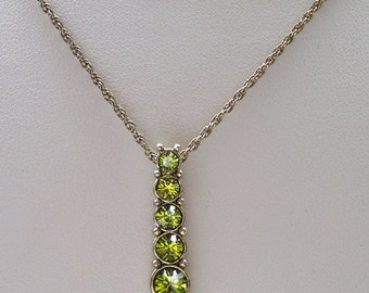 1928 Jewelry Olivine Crystal Ladder Linear Necklace