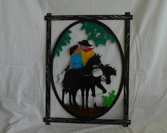 Metal art decor Couple Riding Horses