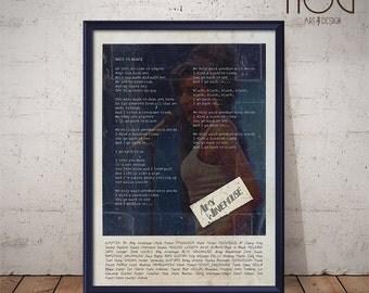 Amy Winehouse Poster - Back to Black - Lyrics Print, Music Poster, Wall Art