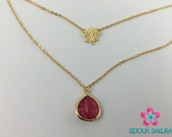 Gold double chain necklace lotus and red glass stone